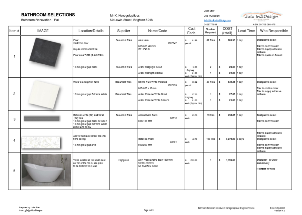 A spreadsheet generated list of all components that are required in the bathroom renovation, the cost and specifics of the components