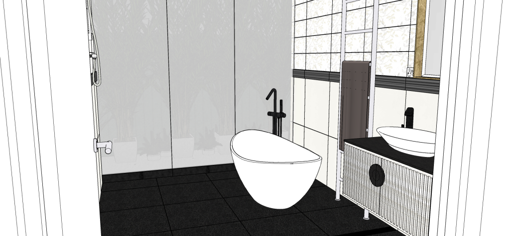 The 3D model of the east view in the bathroom renovation showing the glass wall that fully or partially opens to the courtyard.